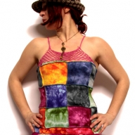 Hippy Rainbow Tie-Dye Patchwork & Crochet Cotton Vest Top