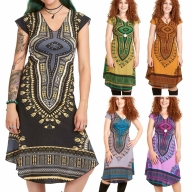 African Dashiki Print Dress, Angelina Summer Dress - Angelina Dress (RFANGD) by Altshop UK