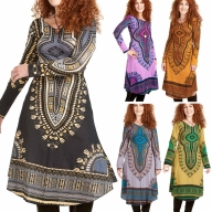 African Dashiki Dress, Angelina Tribal Print Long-Sleeve Dress - Oba Dress (RFOBAD) by Altshop UK