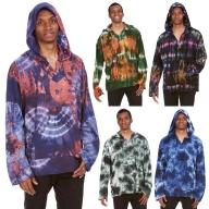 Mens Tie Dye Hoodie, Hippie Boho Kurta - Tie Dye Kurta (RMTDKA) by Altshop UK