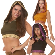 Silk Trimmed Hooded Crop Top - Malay Silk Choli (ROKMALC) by Altshop UK