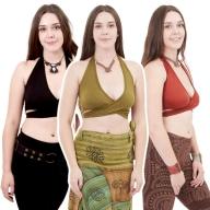 Stretch Cotton Yoga Bra, Hippy Yoga Bralette - Plain Wrap Top (ROKPLAW) by Altshop UK