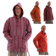 MENS STRIPED HIPPY SUMMER HOODIE TOP