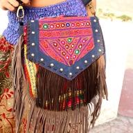 Leather Banjara Bag, Boho Embroidered Hippy Handbag - Tassel Bag B by Living Poetry