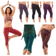 Organic Cotton Cropped Yoga Pixie Leggings - Piko Leaf Leggings (TLP153) by Altshop UK