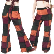 High Waist Velvet Patchwork Trousers - Patchwork Trousers (TLP331) by Altshop UK