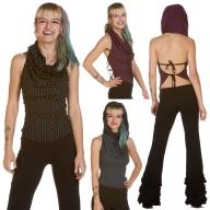 Ladies Rockabilly Boho Cowl Neck Polka Dot Hood Top - Elisa Top (UF517) by Anki