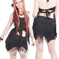 Black Gothic Pixie Lace Mini Skirt - Misaki Skirt (UF609) by Anki