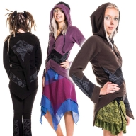 Pixie Ringmaster Wizard Jacket, hippie hooded fleece jacket - UF632 by Anki Berlin