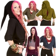 Pixie Hood Batwing Top, Plus Size Psy Trance Clothing XL XXL - Popper Top (UF674) by Anki