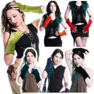Velvet Pixie Armwarmers, Goa psy trance wrist warmers - Velvet Gauntlets (VELVAW) by Altshop UK