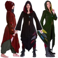 Pagan Goddess Cloak Coat, Velvet Woodland Faery Boho Jacket - Leaf Goddess Coat (WCA1005) by Altshop UK