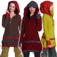 Boho Summer Psy Trance Jacket, Hooded Ladies Hippy Jacket - Fae Fleece Jacket (WJK3082) by Altshop UK