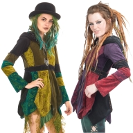 Velvet Patchwork Jacket, Ladies Hippy Pixie Jester Coat - Misty Jacket (WJK4242) by Altshop UK