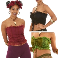 Festival Hippy Crop Top, Corset Back Boobtube - Maypole Top (WSMAYP) by Altshop UK