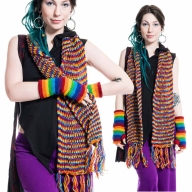 Warm and Cozy 100% Wool Rainbow Coloured Scarf - WS MRBWS