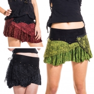 Festival Pixie Skirt, lace & cotton skirt with pocket - Green