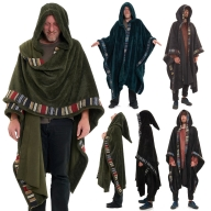 Mens Furry Pixie Wizard Hooded Poncho, Pagan Cloak - Wizerd Poncho (WSWIZP) by Altshop UK