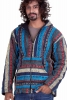 Mens Hippy Jacket, man's Nepalese baja hippie hoodie in Turquoise - Blanket Jacket (BHIMBJA) by Altshop UK