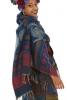 Oversized Wool Hippy Scarf, Large Warm Hippie Shawl Blanket in Blue - Paisley Shawl (BHIMSCF1) by Altshop UK
