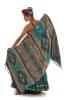 Large Wool Scarf, Boho Shawl, Hippy Wrap Blanket in Brights - Ikat Shawl (BHIMSCF2) by Altshop UK