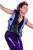 Geometric Sequin Disco Rave Bolero Waistcoat in Blue - Waxcloth Waistcoat (DBMAFW) by Lovely Jubbly