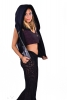 Sequin Disco Rave Hoodie, Burning Man Coachella Top in Blue - Quin Waistcoat (DBSECWA) by Lovely Jubbly