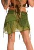 Psy Trance Mini Skirt, Boho Hippy Miniskirt in Green - Lace Shivay Skirt (DCLACS) by Altshop UK