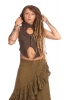Pixie Queen Hooded Psy Top in Brown - Swallowtail Vest (DCSWALT) by Altshop UK