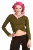 Long Sleeved Yoga Top, Long Sleeve Hippy Boho Crop Top in Green - Cross Top (DEVCROS) by Altshop UK