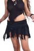 Wrap-around Frayed Ghass Cotton Mini Skirt in Black - Ghass Skirt (DEVGASK) by Altshop UK