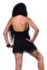 Hooded Backless Doof LBD Cowl Neck Mini Dress in Black - Lace Cowl Dress (DEVLACD) by Altshop UK