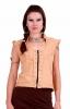 Tribal Psy Trance Vest, Goth Emo Punk Cropped Jacket Top in Beige - Manu Vest (DEVMANU) by Aircat