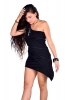 Little Bodycon Asymmetric One Shoulder Mini Dress in Black with Khaki Stitch - Interlock Dress Top (DEVOSHD) by Altshop UK