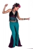 Extra Long Leg Steampunk Coachella Flared Trousers in Turquoise - Panel Flares (DEVPANFL) by Altshop UK