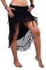 Gypsy Boho Skirt, High Low Psy Trance Goa Goddess Skirt in Black - Sitar Skirt (DEVSHLSK) by Altshop UK