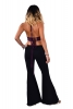 Bell Bottoms Boho Trousers, Yoga Stretch Flare Pants in Black - Yoga Flares (DEVYOFLB) by Altshop UK