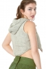 Cropped Hooded Natural Jute Waistcoat in Grey - Boucle Waistcoat (DLBOUW) by Altshop UK