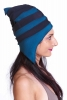 Elf Pixie Hat, Elven Pointy Fleece Winter Festival Hat in Navy & Teal - Pointy Pixie Hat (F28174) by Altshop UK