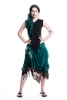 High-Front Ragged Pixie Wrap Skirt in Turquoise - LBSKKA by Gekko