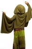Hooded Wrap Sleeved Poncho Top in Green - Hood Poncho (LCJPLF) by Gekko