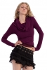 Elegant Long-Sleeved Boho Draped Cowl Neck Hoodie - Purple