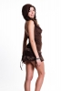 Hooded Lace & Cotton Pixie Dress, festival dress in Brown - LLDRSK by Gekko
