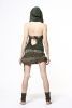 Hooded Lace & Cotton Pixie Dress, festival dress in Green - LLDRSK by Gekko