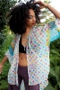 Multicolour hippy boho beach kimono in White Sands - Poetry Kimono (LMKIMO) by Living Poetry