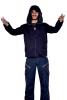 Mens Cyber Elf Hoodie, Mans Pixie Hood Jacket in Black - Cyber Elf Jacket (RFGANJ) by Altshop UK