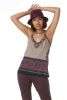 African Print Top, Dashiki Hippy Vest Top in Grey - African Luppi Top (ROKLAST) by Altshop UK