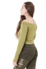 Asymmetrical Long Sleeve Yoga Top in Green - Witch Top (ROKLSST) by Altshop UK
