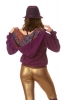 Jute Hippy Hoodie with Extra Large Hood in Purple - Jute Hoodie (ROKPJH) by Altshop UK