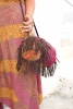 Banjara Hippy Bag, Boho Banjara Handbag in Red and Gold - Round Bag B (SOHARB) by Living Poetry